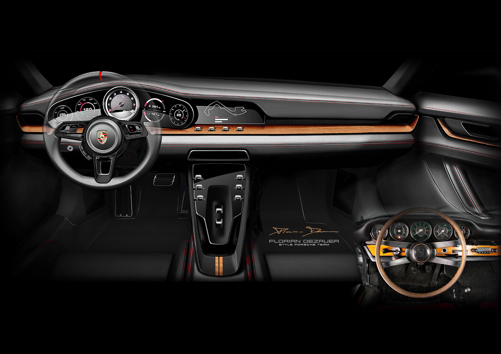 Design sketch of the current 911 interior Photo: Porsche