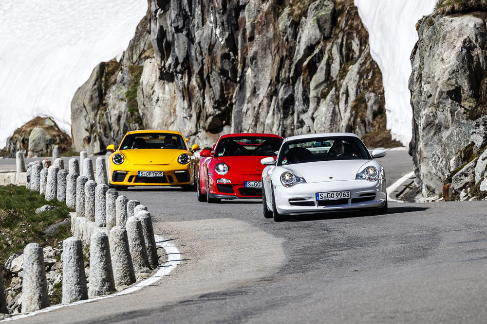 Porsche 911 GT3: three generations of the 996.2, 997.2 and 991.2 Photo: Porsche