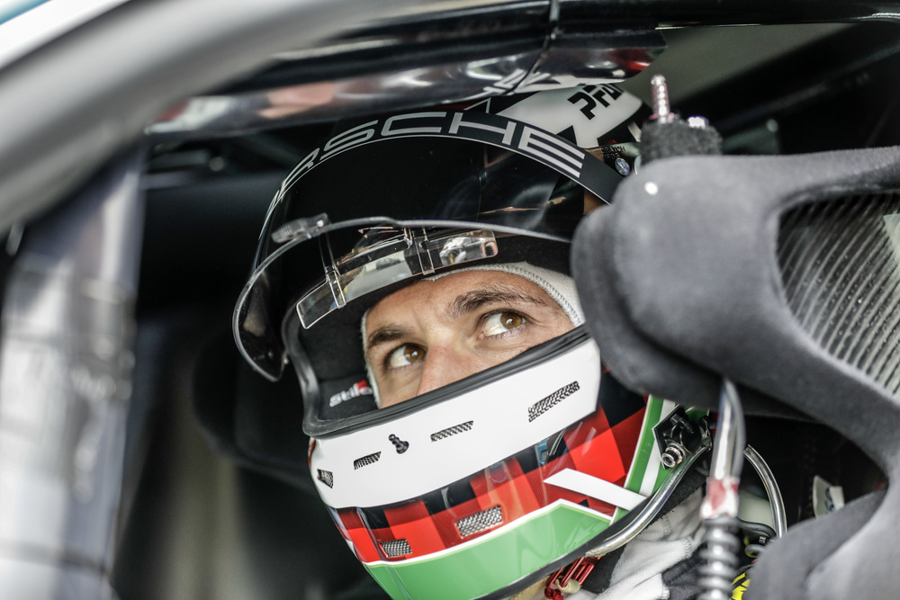 Lars Kern in the cockpit of the Taycan prototype. Photo: Porsche