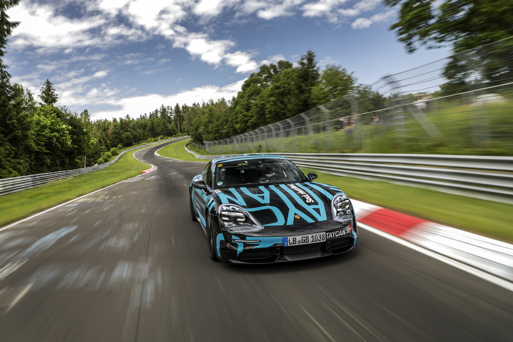 Taycan prototype on its way to the Schwalbenschwanz section. Photo: Porsche